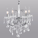 Crystal Chandelier with 4 Lights in Candle Lamp Bulb
