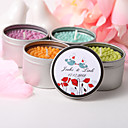 Personalized Round Tin Candle Favor - Love Flowers And Birds (More Colors)