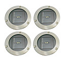 Set of 4 Warm Yellow 2 LED Solar Power Underground Landscape Garden Light