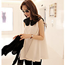 Color Block Chiffon Baby Doll Blouse Shirt