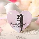  Personalized Heart Shaped Favor Tag - Bride & Groom Wedding (Set of 60)