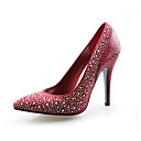 Leatherette Stiletto Heel Pointy Toe Pumps Party / Evening Shoes With Rhinestone (More Colors Available)