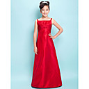 Sheath/Column Straps Floor-length Taffeta Junior Bridesmaid Dress