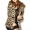 Long Sleeve Hooded Collar Evening/ Office Faux Fur Jacket