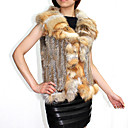 Genuine Rabbit Fur Knit Vest With Fox Fur Collar(More Colors)