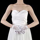 Satin / Lace Wrist Length Fingertips Bridal Gloves With Pearls