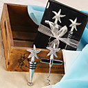Chrome Starfish Wine Opener and Stopper Set