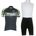 Kooplus-Men's BIB Short Sleeve Cycling Suits (Road Green)