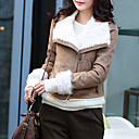 Long Sleeve Turndown Collar Evening/ Career PU Jacket With Pockets