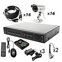 Anko - 16CH H. 264 CCTV DVR Kit (1000G Hard Disk + 16 Outdoor Waterproof Color Cameras)