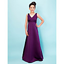 Fantastic A-line V-neck Floor-length Satin Junior Bridesmaid Dress