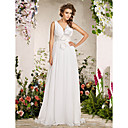 Sheath/ Column Deep V-neck Floor-length Chiffon Wedding Dress