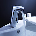 Brass Bathroom Sink Faucet with Automatic Sensor and Pop up Waste