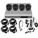 Ultra-Low-Preis 4-Kanal CCTV DVR-Kit (H. 264, 4 Hallen-IR-Farb-Kameras)