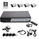 4-Kanal-all-in-one cctv Kit + 4pcs 25m im Freien wasserdichte Kamera mit silberner Farbe + 500GB HDD