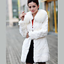 Fox Fur Collar Long Sleeve Party/Evening Rabbit Fur Coat (More Colors)