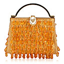 Gorgeous Cotton with Acryl Drops Evening Handbag/Wristlet(More Colors)