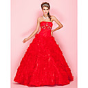 Ball Gown Strapless Floor-length Organza Prom Dress With Cascading Ruffles