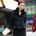 Long Sleeve Standing Collar Office Faux Fur Jacket(More Colors)