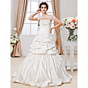 Ball Gown Strapless Court Train Satin Tulle Wedding Dress With Wrap