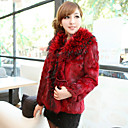 Long Sleeve Fox Fur Collar Office/Party Rabbit Fur Coat (More Colors)