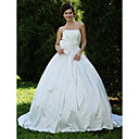 Ball Gown Strapless Court Train Taffeta Wedding Dress