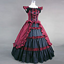 Sleeveless Floor-length Red and Black Cotton Victoria Style Gothic Lolita Dress