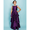 A-line Bateau Floor-length Elastic Woven Satin Junior Bridesmaid Dress