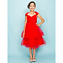 Ball Gown V-Neck tea-lunghezza raso tulle Junior abito da damigella d'onore