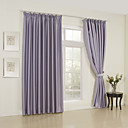 (Two Panels) Solid Lavender Classic Room Darkening Curtains