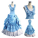 Little Fairy Sleeveless Floor-length Blue and White Cotton Country Lolita Dress