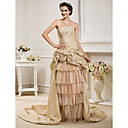 A-line Strapless  Court Train Taffeta And Organza Wedding Dress