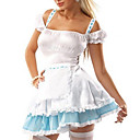 Sexy French Maid White Dress Outfit Cosplay Adult Women Halloween Costume(2Pieces)