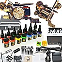 2 fer  la main fonte pistolet de tatouage kit avec 14 * 15ml d'encre couleur
