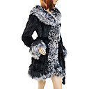 Charming Long Sleeve Turndown Collar Evening Lamb Fur and Rabbit Fur Coat(More Colors)