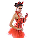 Sequin Red Devil Halloween Sexy Women Costume(4 Pieces)