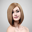 Capless 100% Human Hair Medium Long Brown Straight Wig