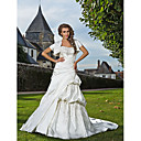 Trumpet/Mermaid Sweetheart Strapless Chapel Train Satin Wedding Dress With A Wrap