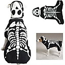 Noctilucent Dogs Bone Style Jumpsuit with Eyepatch for Dogs(Black,XS-XL)