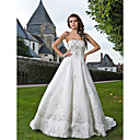A-line Chapel Train Tulle Wedding Dress With Removable Straps
