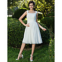 A-line/Princess Square Knee-length Chiffon Wedding Dress