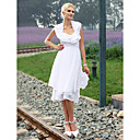 Sheath/ Column Halter Knee-length Chiffon Wedding Dress
