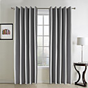 (Two Panels) Classic Embossed Grey Blackout Curtains