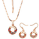 Multi Color Crystal Round Shaped 18K Gold Jewelry Set Including Necklace,Earring