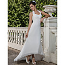 Sheath/Column Empire Halter Asymmetrical Chiffon Wedding Dress with Beaded Appliques