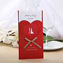 Personalized Red Wedding Invitation With Ribbon Bow(Set of 50)