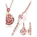 Rotary 18K Gold Jewelry Set With Rhinestone Including Necklace,Earring,Bracelet (More Colors)