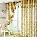 (Two Panels) Classic Jacquard Botanical Energy Saving Curtains