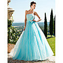 A-line Strapless Floor-length Tulle And Satin Evening Dress With Sequins