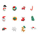 24pcs Christmas Style 3D Ceramic Finger Nail Decoration
